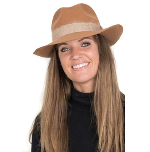 FEDORA- WOOL/RIBBON UNISEX HAT- TOFFEE- ON SALE