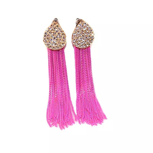 SALE ITEM- RHINESTONE AND CHAIN TASSEL EARRINGS