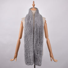 RABBITO- Rex rabbit fur Long scarf -LIGHT GREY