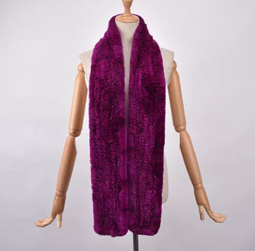 RABBITO- Rex Rabbit fur long scarves- FUSCHIA