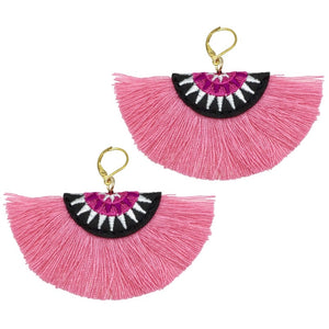 SALE ITEM- COLOURED TASSEL FAN EARRINGS