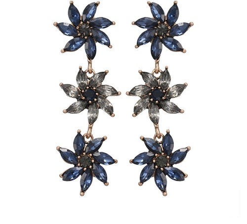 GARDENIA-  FLOWERS CRYSTAL EARRINGS- BLUE
