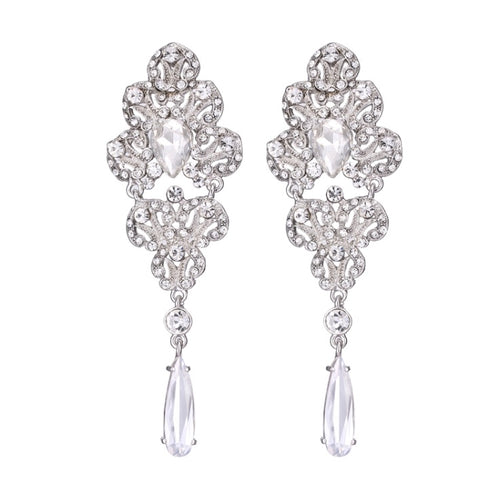 KANYA- CRYSTAL AND CUBIC ZIRCONIA CHANDELIER EARRINGS