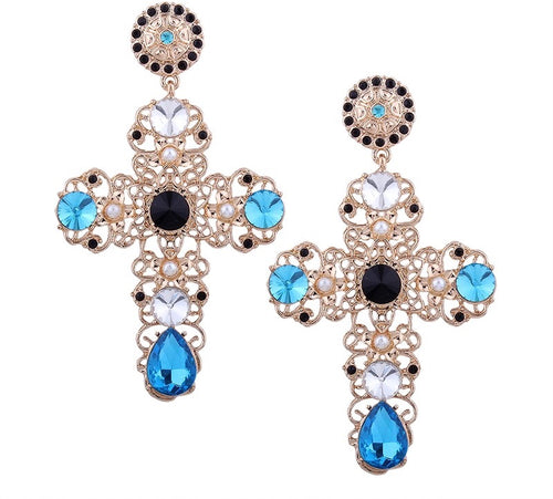 SOLERMO- CROSS EARRINGS GOLD/BLUE