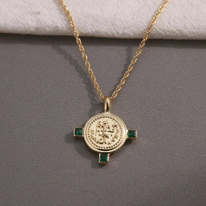 ESMERALDE- VINTAGE ROUND PENDANT NECKLACE- 2 COLOURS