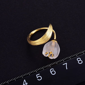 TULIPA- STERLING SILVER/GOLD PLATED CRYSTAL RING