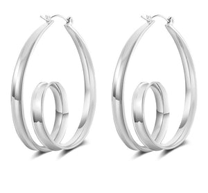 SPIN- SILVER HOOP EARRINGS