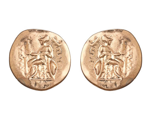 ATHENA- COIN BUTTON EARRINGS