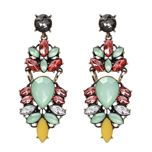 LENA- RHINESTONE CHARM EARRINGS- GREEN/PEACH
