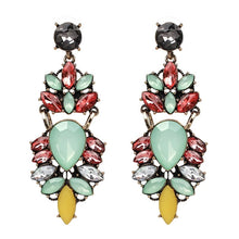 LENA- RHINESTONE CHARM EARRINGS- PURPLE/MINT