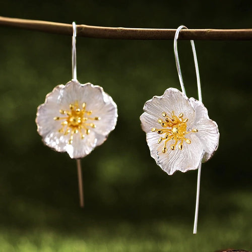 POPPY- STERLING SILVER/GOLD PLATED DROP EARRINGS