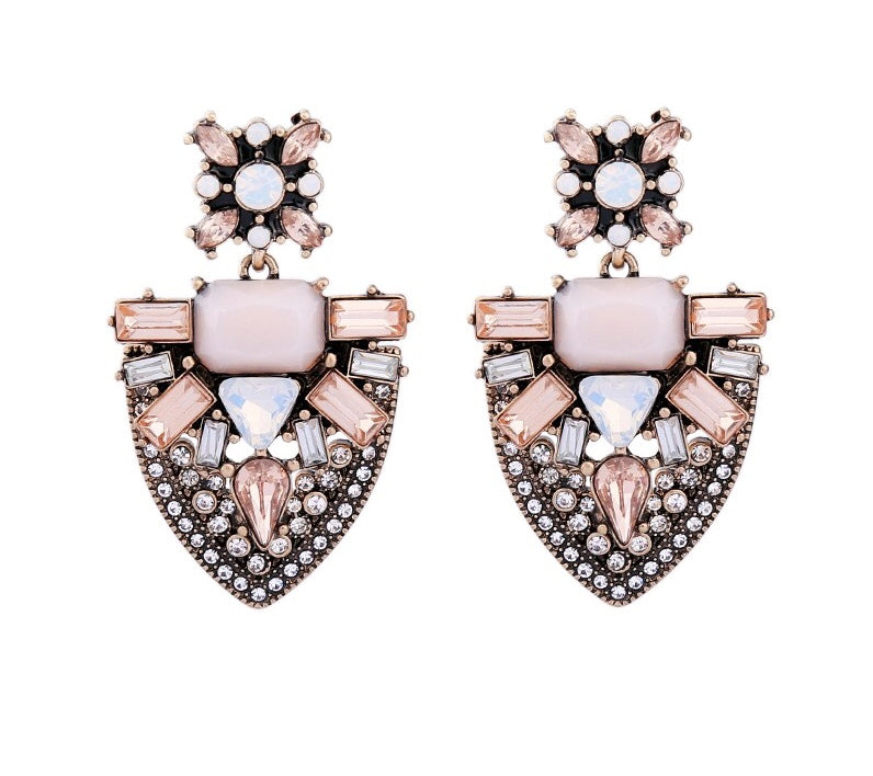 GLAM'AZONE- PINK CRYSTAL VINTAGE LOOK EARRINGS