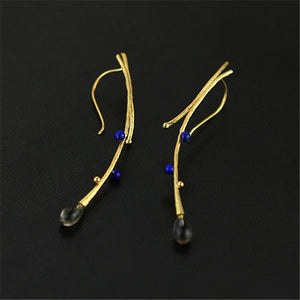 XYLO- STERLING SILVER, LAPIS AND CRYSTAL EARRINGS