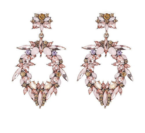 RADA- RHINESTONE WATER DROP EARRINGS- PINK