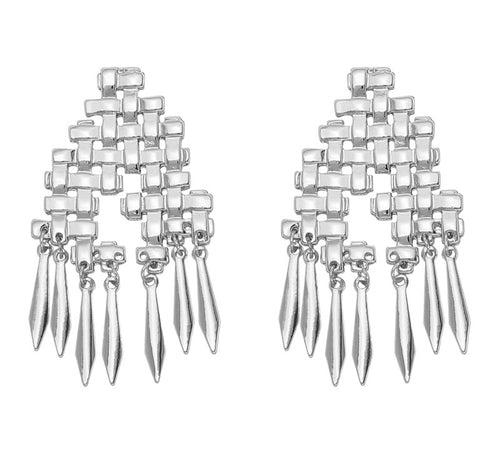 RANIA-GRID EARRINGS-SILVER