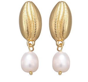 POSEIDON'S SHELL & NATURAL PEARL EARRINGS