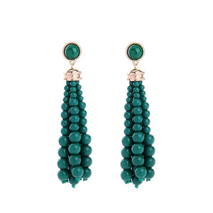 TIFFANY- BEADED TASSEL EARRINGS -GREEN