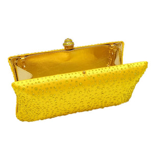 MAYA- CRYSTAL CLUTCH/BAG- YELLOW