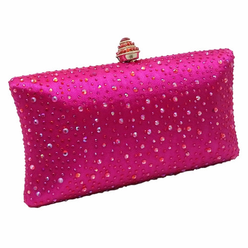 MAYA- CRYSTAL CLUTCH/BAG- FUSCHIA