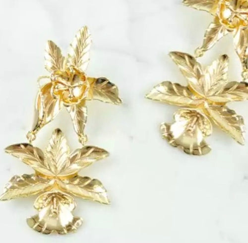LILY-GOLD FLOWER EARRINGS