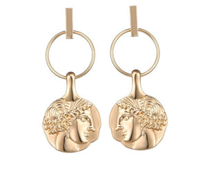 DIONYSOUS- HEAD COIN DROP EARRINGS