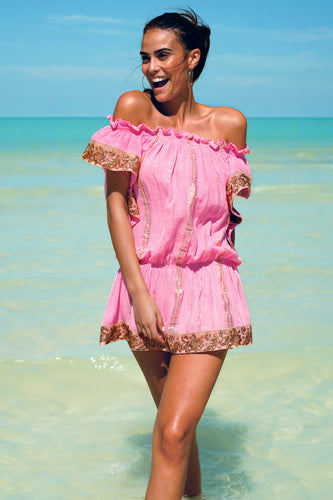 MISS JUNE- GOLDEN HOT PINK BIKINI DRESS DRESS/TOP