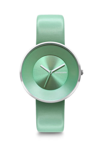 CIELO 34 LEATHER SILVER MENTA WATCH