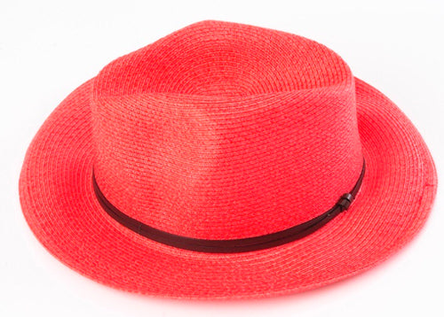 BORSALINO-RED PAPER FABRIC HAT