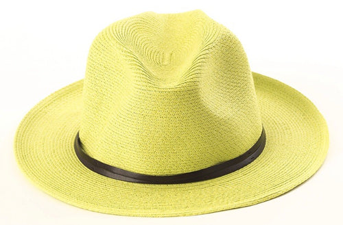BORSALINO-LIME PAPER FABRIC HAT