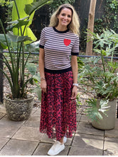 FRANKIE'S CHERRY LEOPARD PLEATED SKIRT
