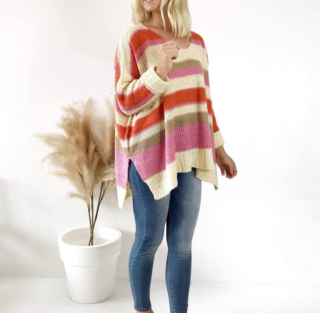 TASH- STRIPED PONCHO WIDE KNIT
