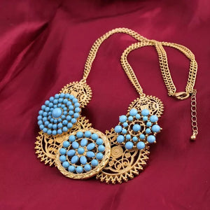 WHEEL OF FORTUNE GOLD TURQUOISE NECKLACE