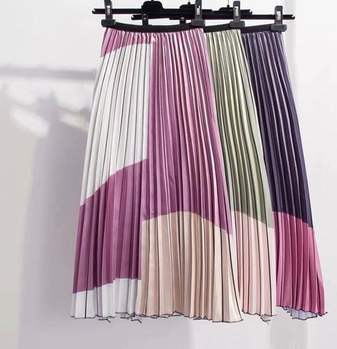 MAYA-CONTRAST COLOUR SPLICE PLEATED SKIRT- 3 COLOURS