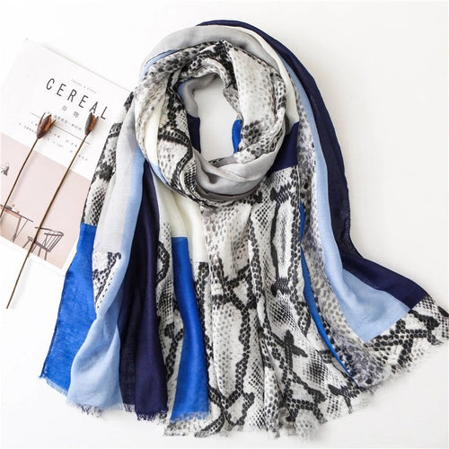 GEOMETRIC/ SNAKE SKIN BLUES & WHITES SCARF