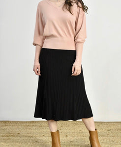 ANGELIQUE MIDI A-LINED RIBBED KNIT SKIRT