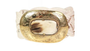 MISS JUNE PARIS LEATHER PLAITED GOLD BUCKLE BELT - P131 - 2 colours