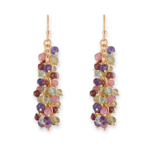 BIANC- LUMIERE Large Multi Stone Drop Earrings
