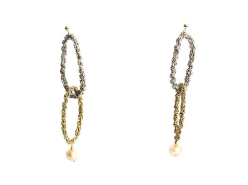 HARA- 2 TONE RING DROP PEARL EARRINGS