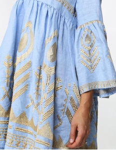 KORI MEDITERRANEAN TUNIC MINI DRESS- LIGHT BLUE/GOLD THREAD