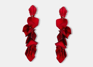 CHERRY RED - STATEMENT LEAF DROP EARRINGS