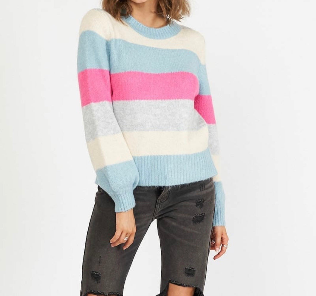 POLO STRIPES- WOOL BLEND STRIPPED CREW KNIT