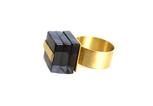 ROSA MENDEZ-NEW YORK WRAP GLASS RING- CARBON