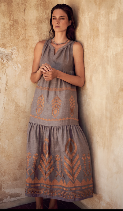 KORI LINEN MEDITERRANEAN MAXI DRESS - GREY /BRONZE