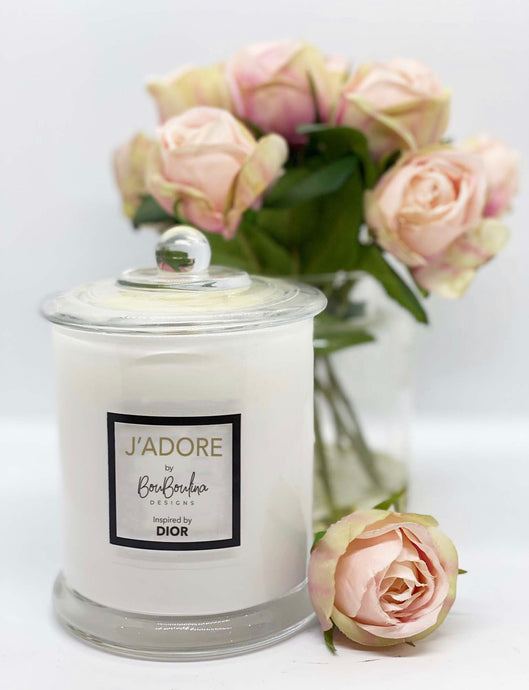 DESIGNER J'ADORE  BY DIOR INSPIRED SOY CANDLE- BY BOUBOULINA DESIGNS