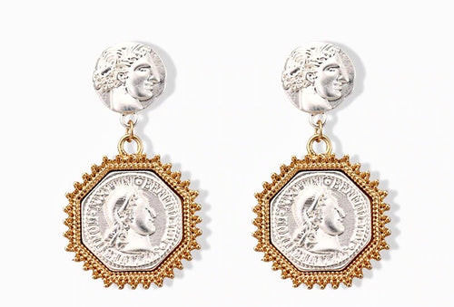 NAPOLEON 2 TONE COIN EARRINGS