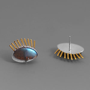 MATI-SILVER/GOLD PLATED EYE STUDS with LAMBRADORITE