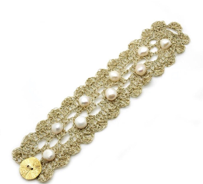 FRESH- WATER PEARL METALLIC THREAD BRACELET