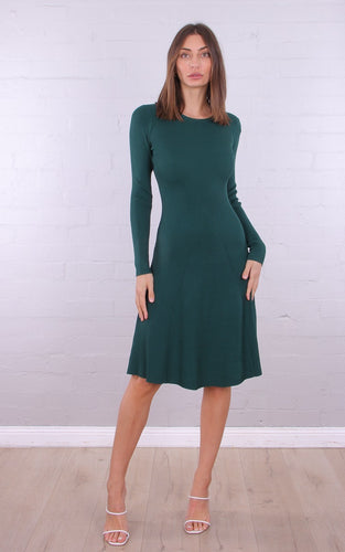 KAYLA- GREEN KNIT MIDI DRESS