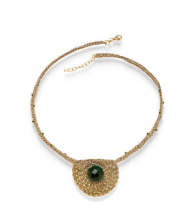VASSO GALATI- GREEN AGATE PENDANT NECKLACE