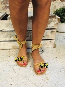 AMMOS-LEMONIA- 2 WAY PORTOFINO INSPIRED LEATHER SANDALS